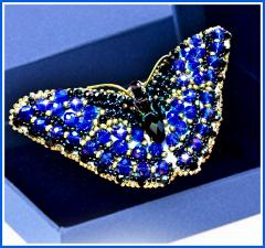 Образа в каменьях | Брошь Бабочка Сапфир. Размер - 7,5 х 3,5 см