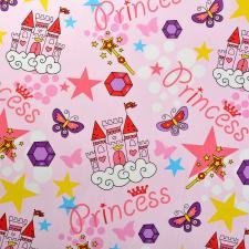 Ткань ранфорс Принцессы, 130г/м²,100% хлопок, шир.240см, цв.розовый, рул.3м