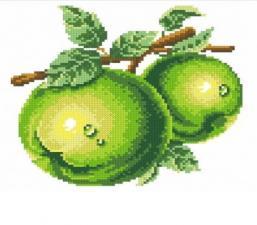 Алмазная мозаика | Зелёные яблоки. Размер - 25 х 23 см