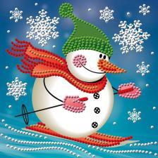 Алмазная мозаика | Снеговик лыжник. Размер - 15 х 15 см