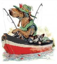 Астрея | Схема Рыбаки. Размер - 29 х 32 см