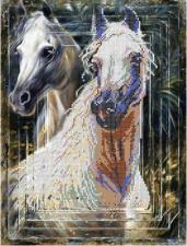 Картины бисером | Схема Белые мустанги. Размер - 28 х 37 см