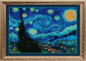 Золотые ручки   Звёздная ночь (по мотивам картины В.Ван Гога). Размер - 33 х 40 см