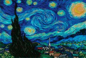 Золотые ручки | Звёздная ночь (по мотивам картины В.Ван Гога). Размер - 33 х 40 см
