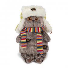Кот Басик в зимней шапке, мягкая игрушка BudiBasa. Размер - 22 см