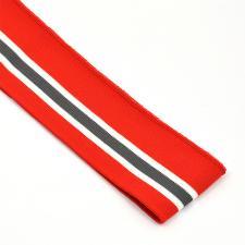 Подвяз трикотажный арт.TBY.73029 цв.красный с белыми и серой полосами, 6х80см