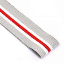 Подвяз трикотажный арт.TBY.73048 цв.серый с белыми и красной полосами, 6х80см
