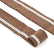 Подвяз трикотажный арт.TBY.73068 цв.светло-коричневый с белой полосой, 3,5х80см