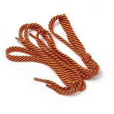 Шнурки плоские 9 мм 7с859 длина 100 см, компл.2шт, цв. чёрный с ярко-оранжевым