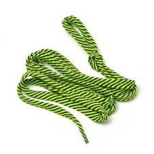 Шнурки плоские 9 мм 7с859 длина 100 см, компл.2шт, цв. чёрный с ярко-салатовым