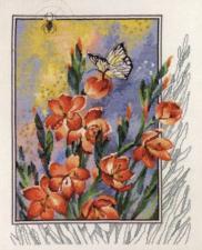 PERMIN | Паучок, бабочка в цветах. Размер - 40 х 47 см