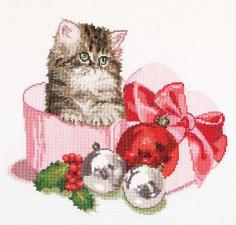 Thea Gouverneur | Christmas kitten/Рождественский котёнок. Размер - 31 х 30 см