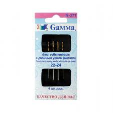 """""""Gamma"""" Иглы для шитья ручные гобеленовые №22-24 с двойным ушком N-377 в конверте 4 шт.,остриё закруглённое"""