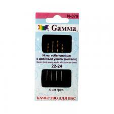 """""""Gamma"""" Иглы для шитья ручные гобеленовые №22-24 с двойным ушком N-379 в конверте 4 шт., острые"""