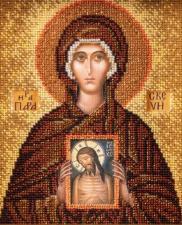 """Радуга бисера (Кроше)   Икона из ювелирного бисера """"Великомученица Параскева Пятница"""". Размер - 12 х 14,5 см."""