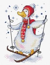 """Набор для вышивания крестиком ТМ """"Жар-Птица"""" """"На лыжне"""". Размер - 14 х 18 см"""