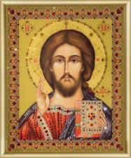 Чаривна мить | Картина стразами Икона Господь Вседержитель. Размер - 17,4 х 21,2 см