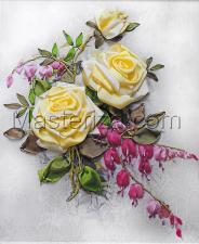 Шёлковый сад | Букет роз. Размер - 19 х 28 см