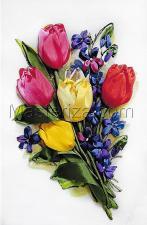 Шёлковый сад | Тюльпаны и фиалки. Размер - 19 х 28 см