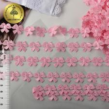 Кружево гипюр бантики арт.TR.12246A шир.15мм цв.08 розовый