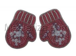А-строчка | Набор для вышивания броши (подвеса) Руковички розовые. Размер - 4,2 х 3,2 см