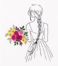 Панна | Живая картина.Девушка с букетом. Размер - 15 х 17,5 см