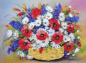 Шёлковый сад | Маки в корзине. Размер - 41 х 29 см