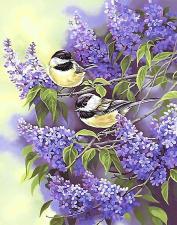Шёлковый сад | Птички на ветке сирени. Размер - 29 х 37 см