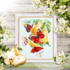 Чудесная игла | Бабочки на груше. Размер - 21 х 27 см
