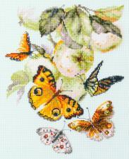 Чудесная игла | Бабочки на яблоне. Размер - 21 х 27 см