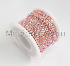 Стразовая цепь SS8 (2,3-2,5 мм).Цвет №4 розовый бензольный.Оправа серебро,1 м