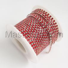 Стразовая цепь SS6 (1,9-2,0 мм).Цвет №18 красный.Оправа серебро,1 м