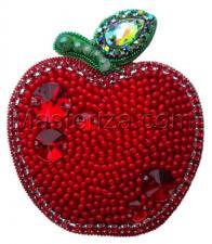 А-строчка | Набор для вышивания броши (подвеса) Яблочко (красное). Размер - 5 х 6 см