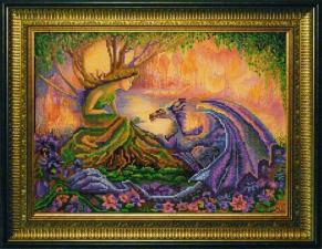 "Конёк | Рисунок на ткани ""Дракон"" (Ж.Уолл). Размер - 39 х 29 см"