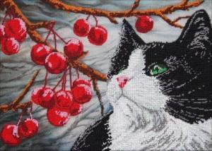 Астрея Арт | Кот и вишня. Размер - 40 х 28 см