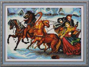 "Конёк | Рисунок на ткани ""Тройка лошадей"". Размер - 39 х 29 см"