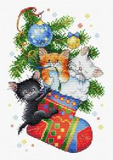 "Набор для вышивания крестиком ТМ ""Жар-Птица"" ""Новогодний подарок"". Размер - 16 х 23 см"