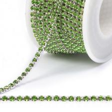 Стразовая цепь SS12 (3,0 мм).Цвет №05 зелёный.Оправа серебро,1 м