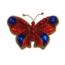 А-строчка | Набор для вышивания броши (подвеса) Бабочка (красно-синяя). Размер - 6,2 х 4 см