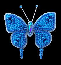 А-строчка   Набор для вышивания броши (подвеса) Бабочка (голубая). Размер - 6,2 х 4 см