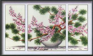 Магия канвы | Сакура (триптих). Размер - 77 х 46 см