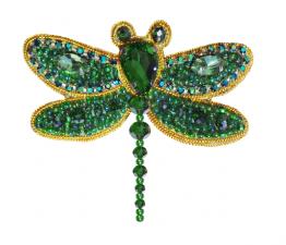 А-строчка   Набор для вышивания броши (подвеса) Стрекоза (зелёная). Размер - 6,5 х 5,5 см