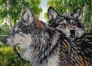 Вдохновение | Схема для вышивки бисером БГК3001 Волки. Размер - 38 х 29 см