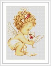 """Набор для вышивания Luca-S """"Ангел с голубем"""". Размер - 21 х 27 см"""