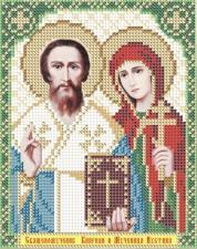 Арт Соло | Святые мученики Киприан и Устиния. Размер - 13,5 х 17 см
