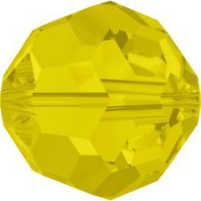"""Бусина стеклянная гранёная """"Сваровски"""" 5000 кристалл жёлтый матовый (yellowopal 231), 6 мм"""