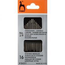 04311 Иглы PONY для вышивания и шитья №3-9 уп.16 шт