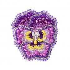 """Набор для изготовления броши Crystal Art """"Анютины глазки"""". Размер - 4,5 х 5 см"""