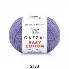 Пряжа Gazzal Baby cotton (60% хлопок, 40% акрил, 50 гр/165 м),3420 лавандовый