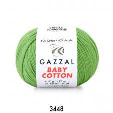 Пряжа Gazzal Baby cotton (60% хлопок, 40% акрил, 50 гр/165 м),3448 зелёное яблоко